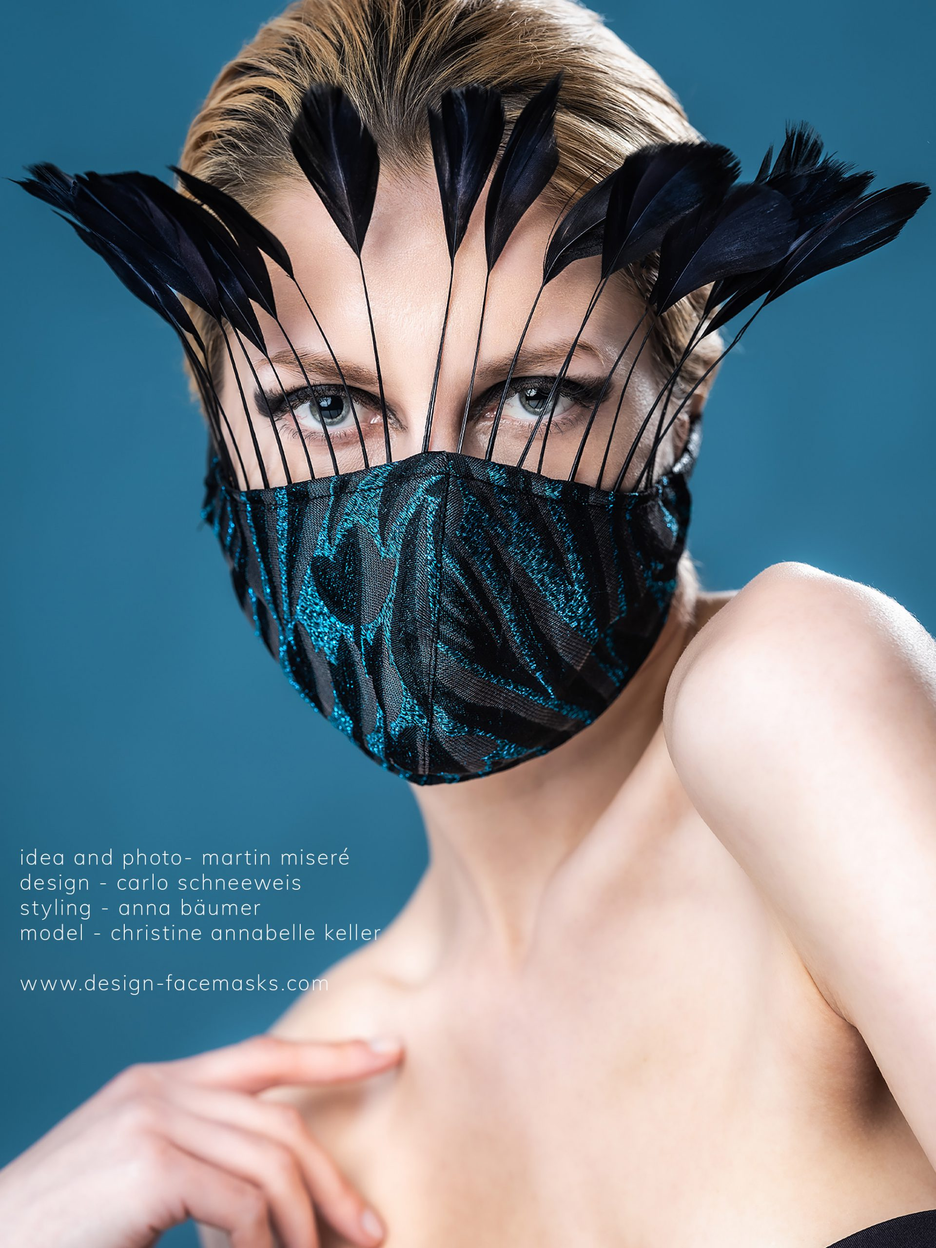 Design Facemask Model Christine Annabelle Keller wearing facemask of fashion designer Carlo Schneeweis photographed by Martin Misere