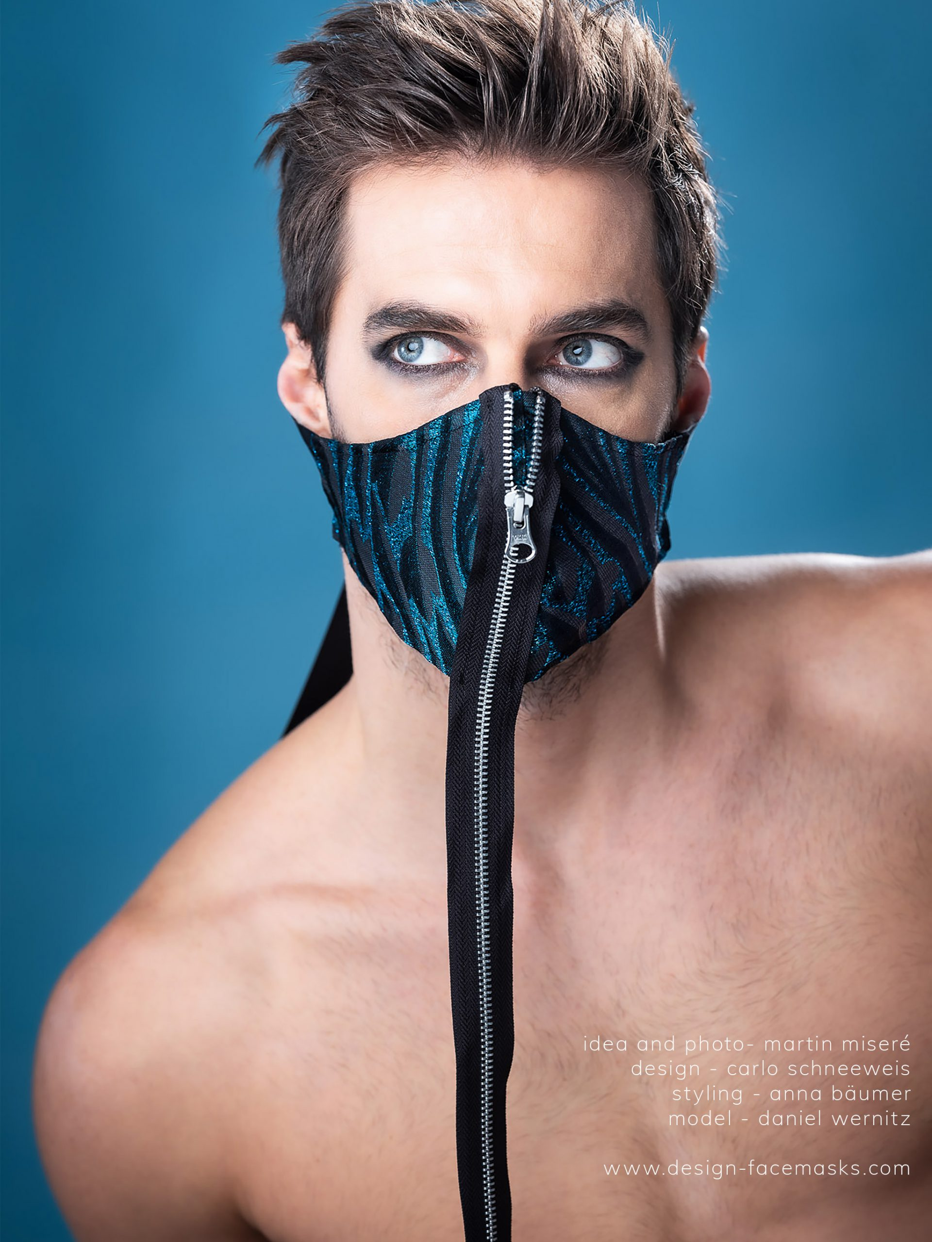 Design Facemask Model Daniel Wernitz wearing facemask of fashion designer Carlo Schneeweis photographed by Martin Misere