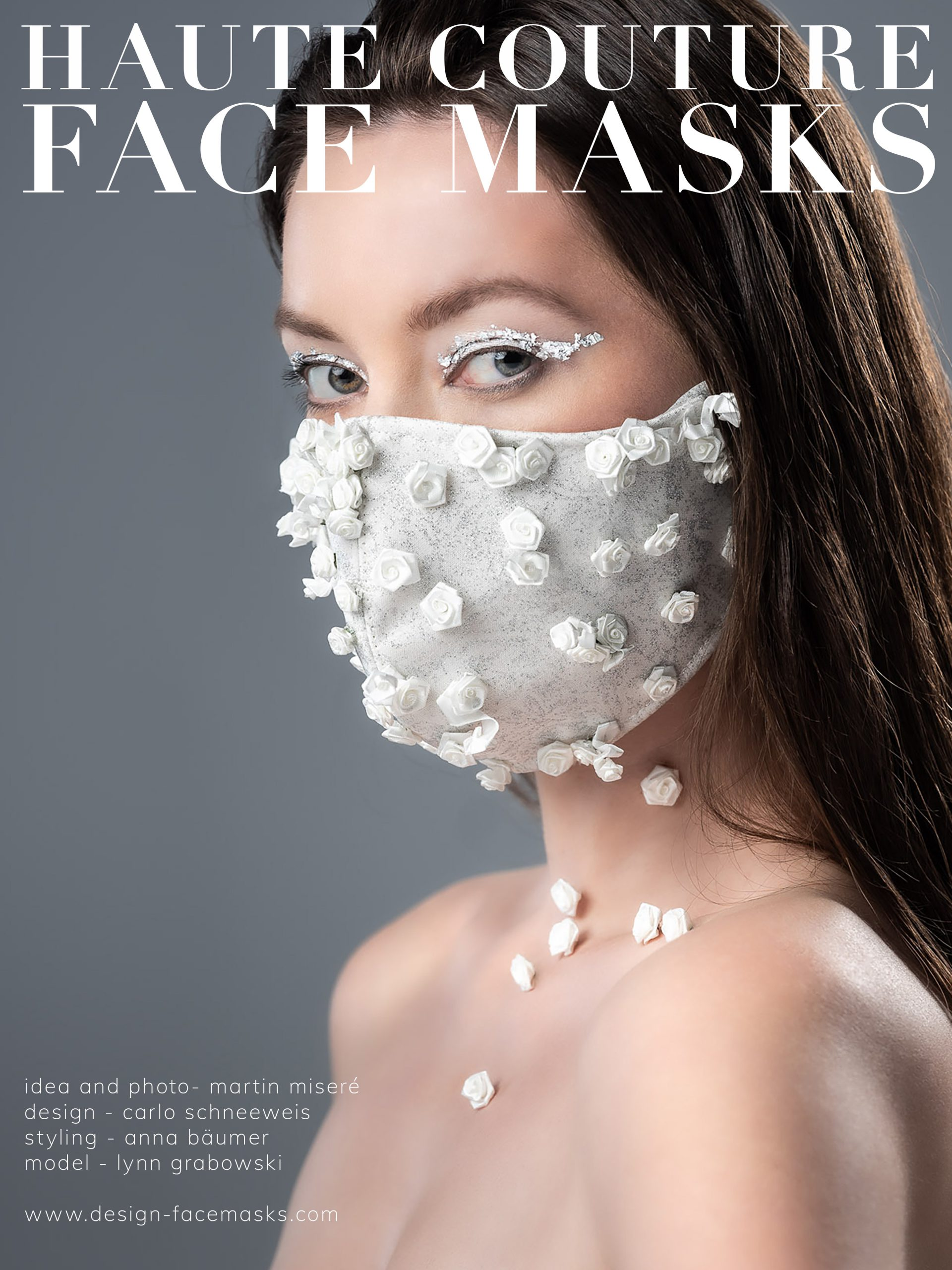 Design Facemask Model Lynn Grabowski wearing facemask of fashion designer Carlo Schneeweis photographed by Martin Misere